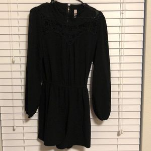 Long-Sleeve Black Romper